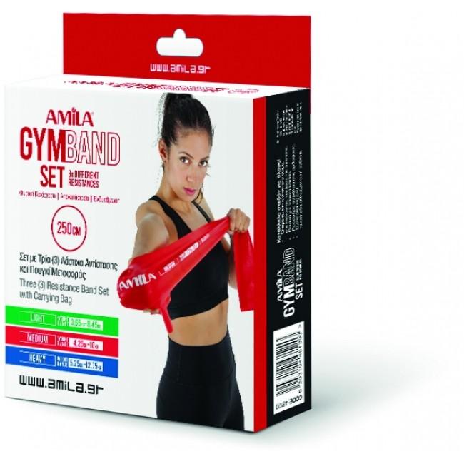 ΣΕΤ 3 Λάστιχα Gymband 2.5m (Πράσινο, Κόκκινο & Μπλε) Amila 48120