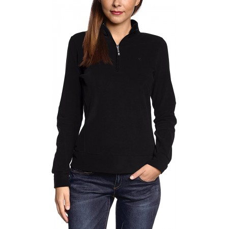 Champion Women's Sweatshirt Half Zip Top ΜΑΥΡΟ